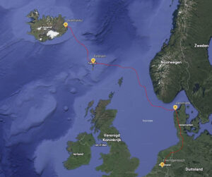 Map of voyage to Iceland